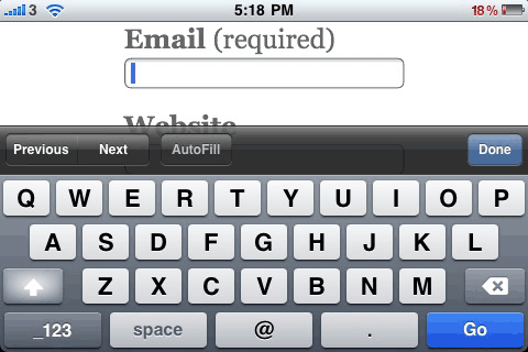 The iPhone displays different keyboards for HTML5 input types